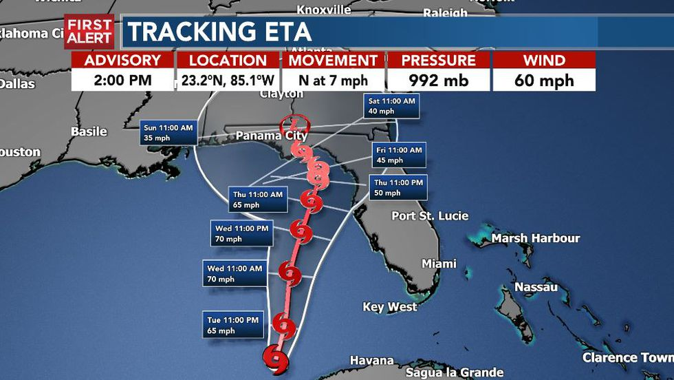 Tropical Storm Eta is expected to make landfall on the Florida panhandle, Saturday.