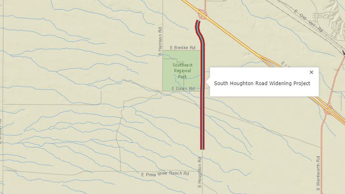 South Houghton Road will be widened from two lanes to four between I-10 and Andrada Polytechnic...