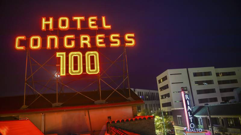 Crews took down the numbers this week, which marked Hotel Congress' 100th anniversary last year.
