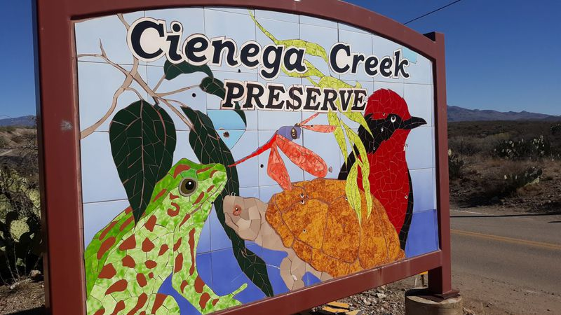Illegal shooters caused damage to a sign at Cienega Creek Preserve.
