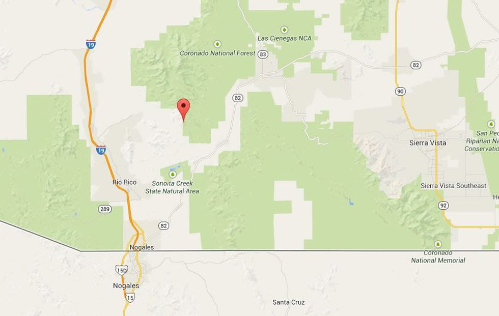 The helicopter rescue took place at Squaw Peak in Santa Cruz County east of I-19.