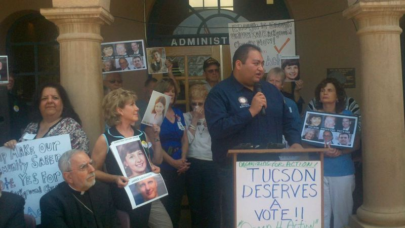 Daniel Hernandez speaks at a 2013 rally in the Tucson area.