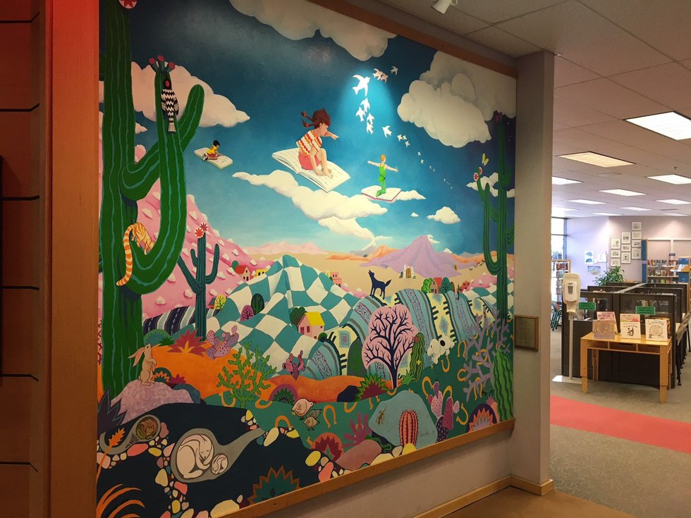 Mural at the entrance to the childrens wing at Joel Valdez Main Library