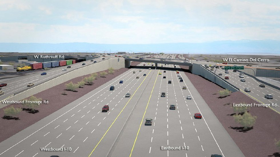 Artist's rendering of the future Ruthrauff Road interchange on I-10 in Tucson. (Source: Arizona...