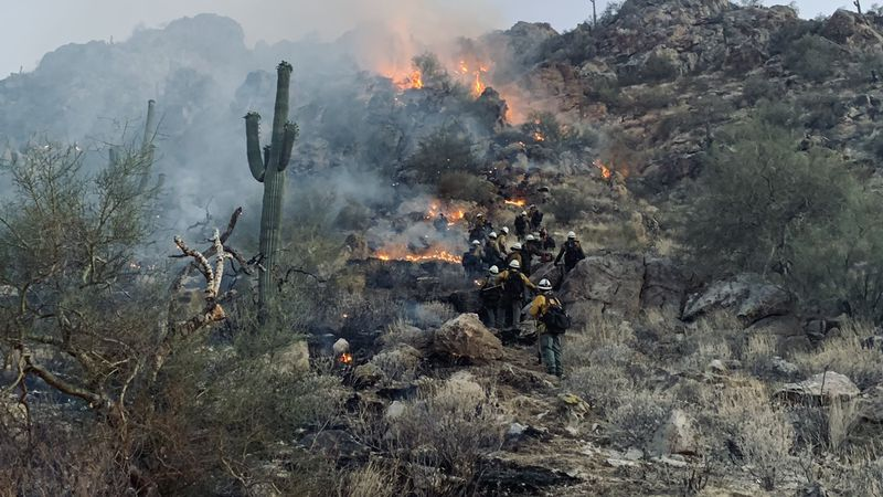 White Tanks Fire burns in White Tanks Regional Mountains near Phoenix