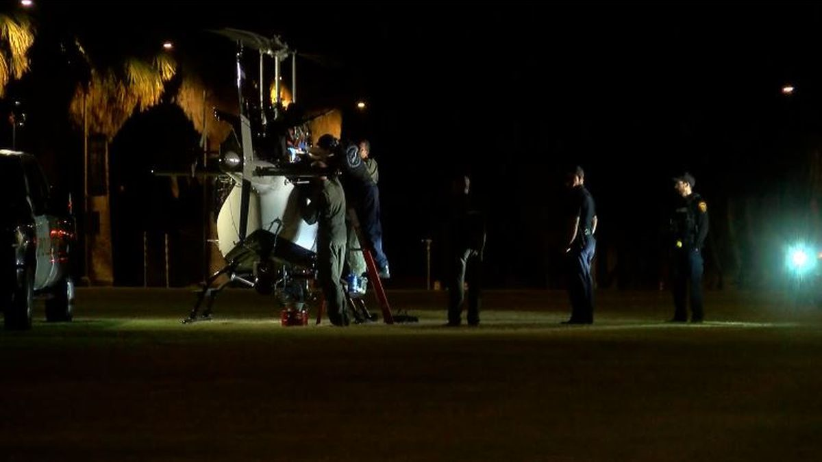 The Tucson Police Department's helicopter pilot chose a parking area near the UA mall to make...