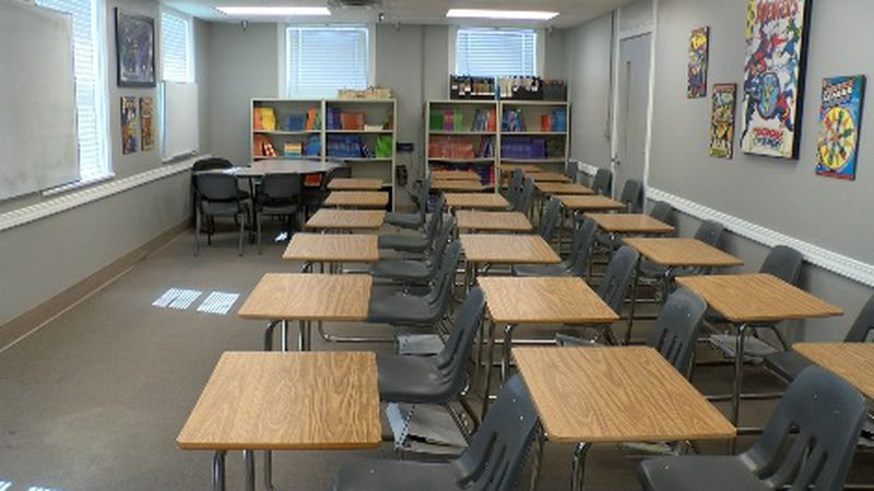 Classrooms like this one are empty at Camp Minden due to COVID-19. Officials had to send...