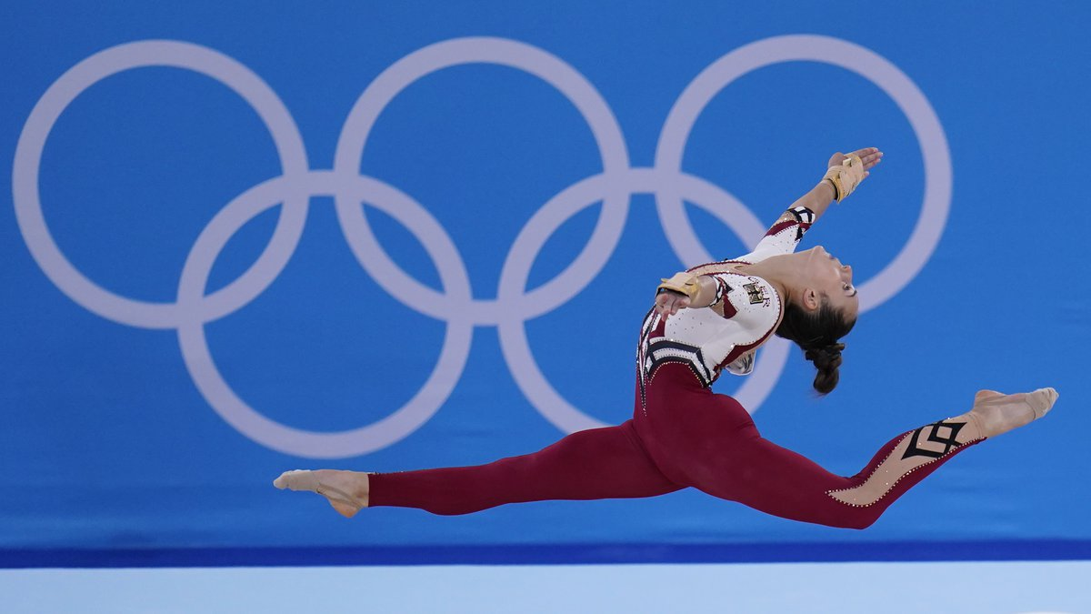 Pauline Schaefer-Betz, of Germany, performs her floor exercise routine during the women's...