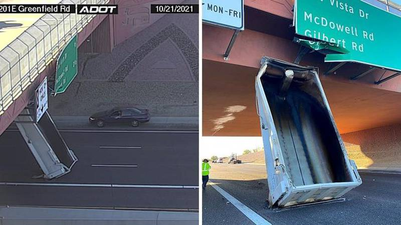 The overpass on the westbound Loop 202 Red Mountain Freeway in Mesa were damaged Thursday, Oct....