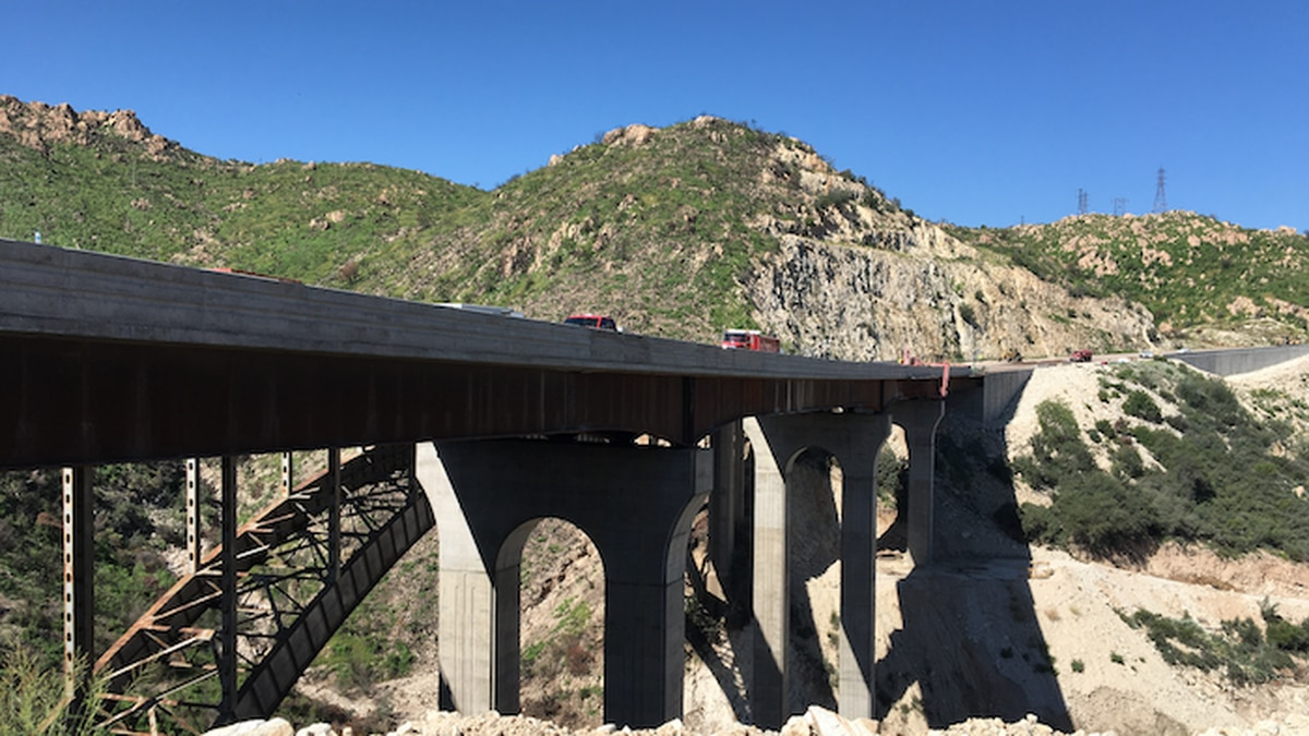 The new Pinto Creek Bridge is under construction on US 60 between Superior and Miami.