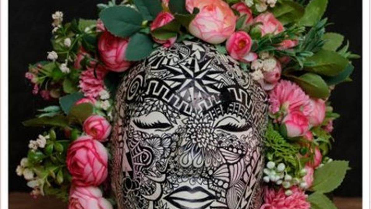 mask made to bring awareness about cancer during National Cancer Survivor Month