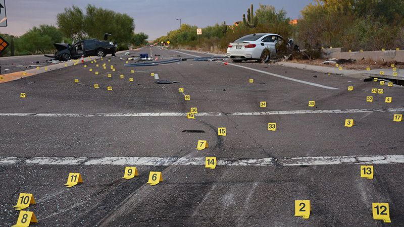 Scottsdale police investigate the two-car crash Aug. 3, 2019, that killed Cynthia Fisher, who...