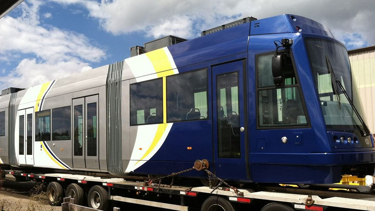 The first streetcar to arrive in Tucson.