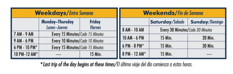 Sun Link schedules for COVID-19