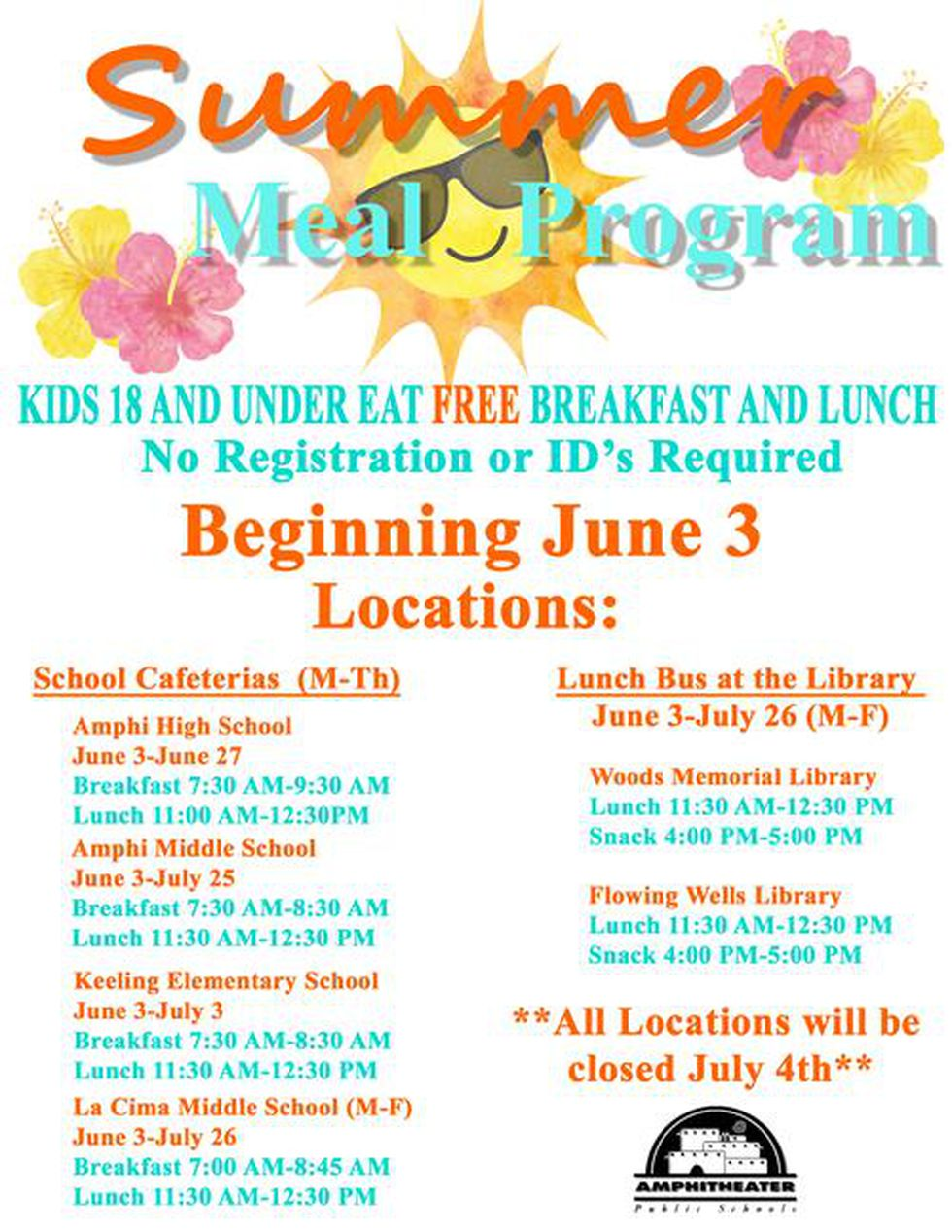 Summer 2019 free meal schedule