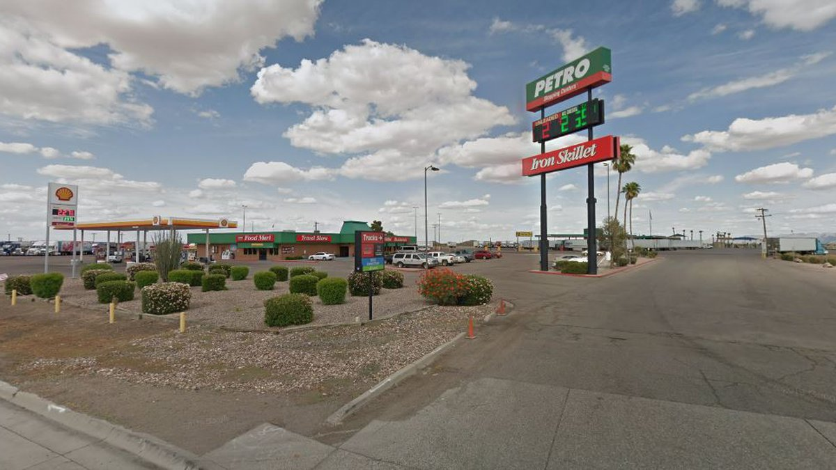 The suspect vehicle crashed into a parked tractor-trailer at the Petro station in Eloy on...