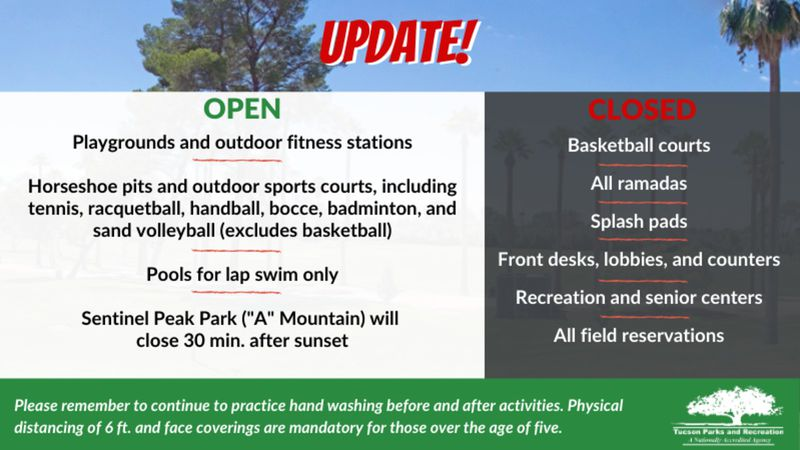 City of Tucson Parks and Recreation Department enacted additions restrictions at city parks to...