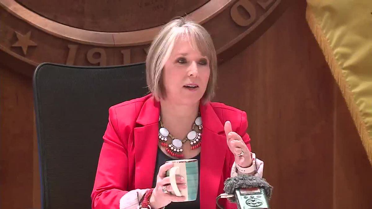 Gov. Michelle Lujan Grisham explains why she pulled her state?s national guard troops from the...