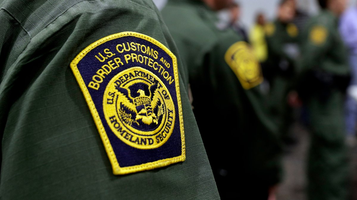 Border Patrol agents hold a news conference prior to a media tour of a new U.S. Customs and...