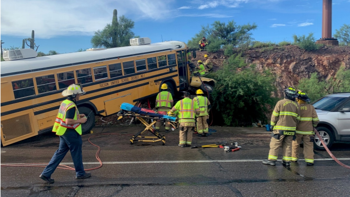 No children were on the school bus at the time of the crash on Valencia Road Wednesday morning,...