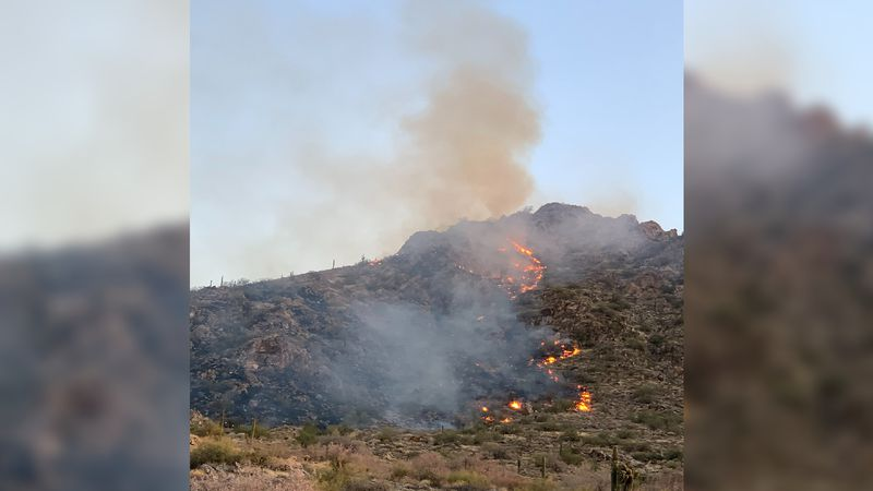 The White Tank Fire sparked Friday, May 14, 2021, west of Surprise, Ariz.
