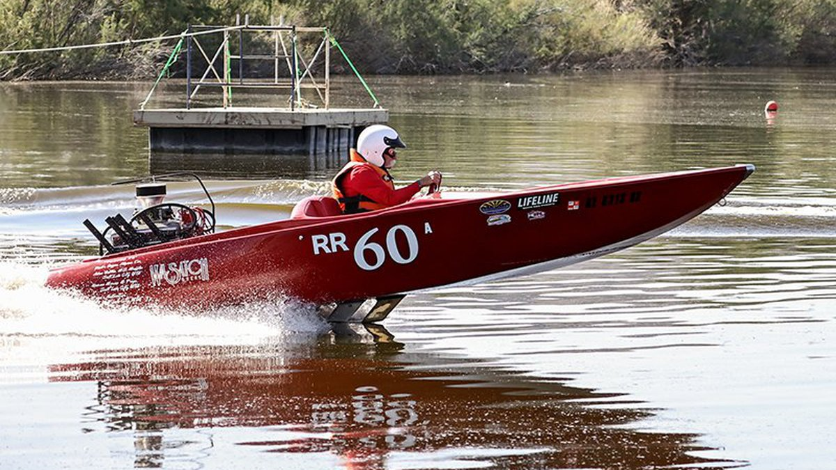 Rob Miller, in his boat Old School, makes a run at Hidden Lake near Buckeye during last month's...