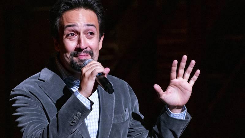 """Hamilton!"" creator Lin-Manuel Miranda gives a curtain speech at the Richard Rodgers Theatre as..."