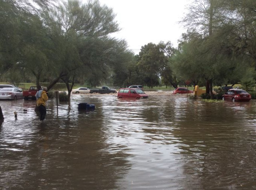 Flooded parking lot at Randolph Golf Course. (Source: See It, Snap It, Send It)