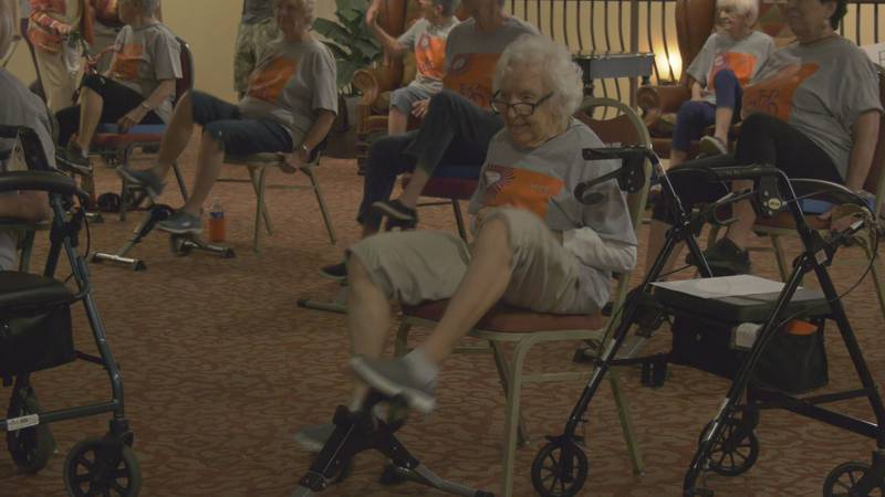 Residents there are competing with several dozen other facilities to see who can bike the most...
