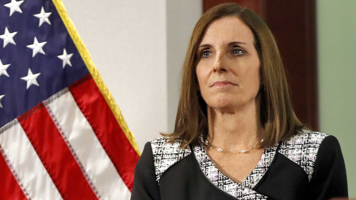 In this Dec. 18, 2018 file photo, then-Rep. Martha McSally, R-Ariz., waits to speak during a...