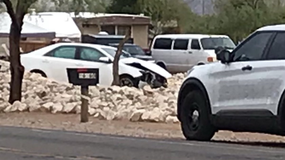 A car showing damage ended up off the road near the intersection of Anway and El Tiro roads on...