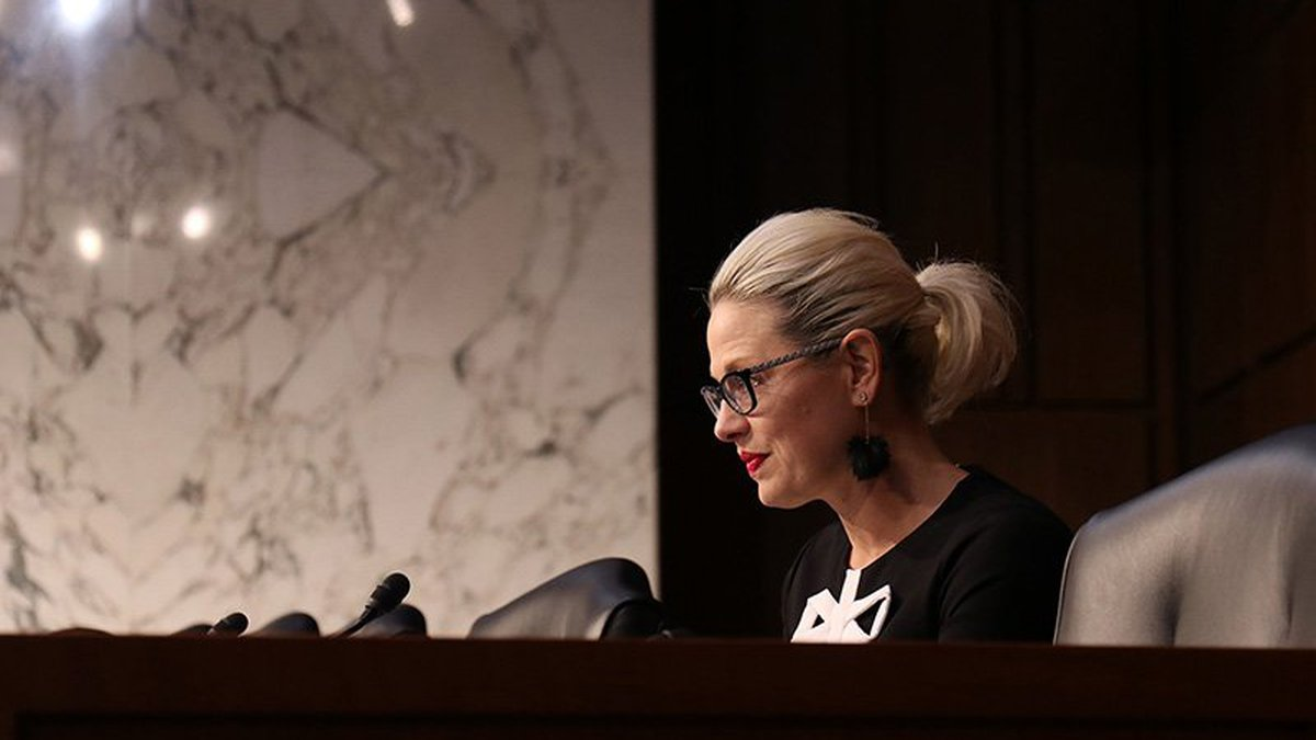 Sen. Kyrsten Sinema, D-Ariz., in a 2019 file photo, was like most lawmakers in the hearing on...