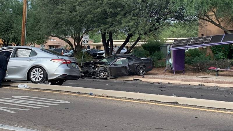 Two sedans appear to be involved in the crash.