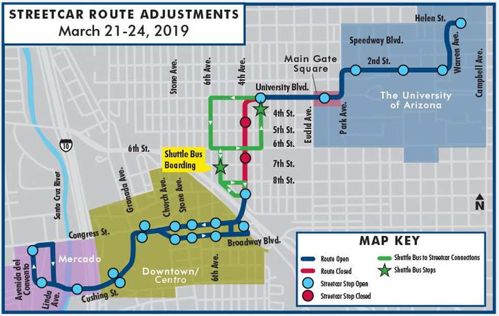 Streetcar route adjustments (Source: City  of Tucson)