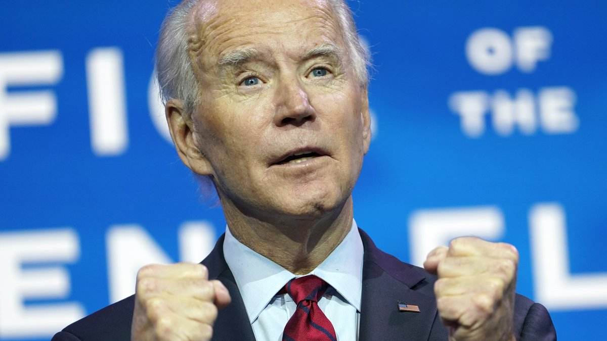 President-elect Joe Biden speaks during an event at The Queen theater in Wilmington, Del.,...