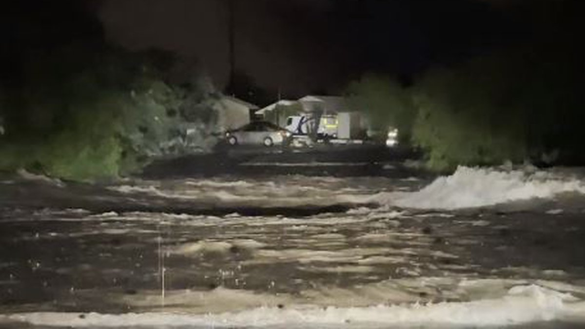 The Alamo Wash overflowed its banks on Tucson's east side early Wednesday morning, Aug. 11.