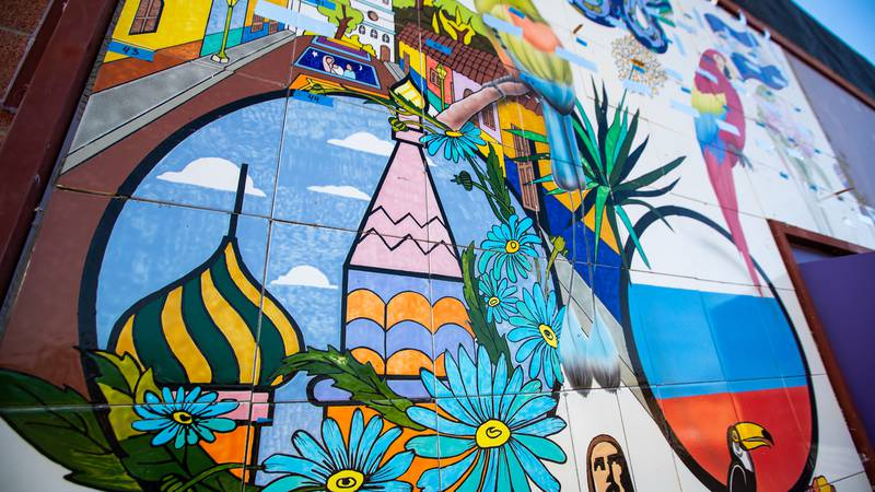 A new mural, made by the students at Las Artes, is being installed at the entrance to Casa...