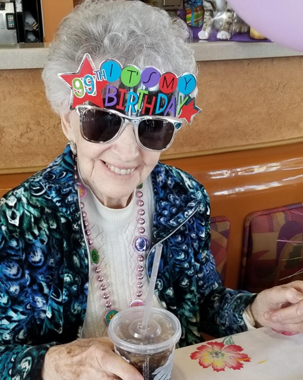 Wanda celebrating her 99th birthday at Taco Bell.