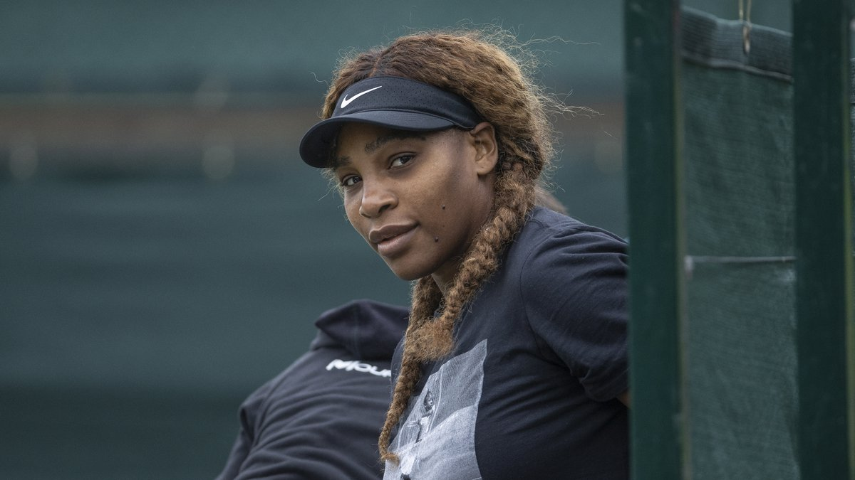 Serena Williams prepares for a practice session ahead of the Wimbledon Tennis Championships, in...