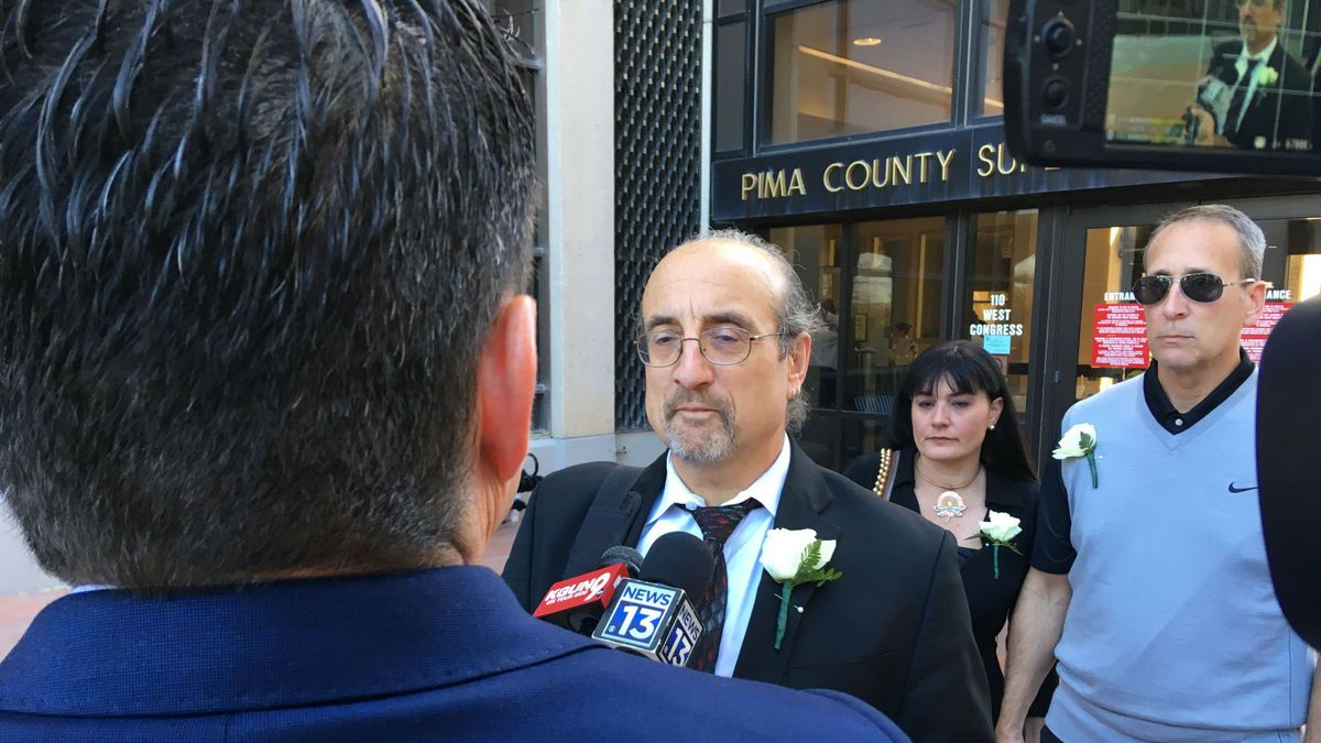 Paul Gattone, attorney for Ron Bell and Jennifer Pendley, speaks after filing a sexual assault...