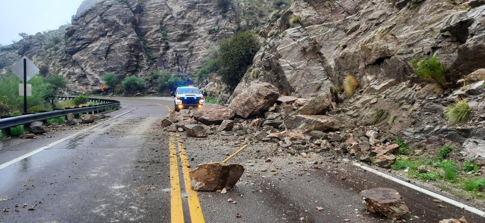 There was a rockslide on Catalina Highway near milepost 4 on Sunday, June 25.