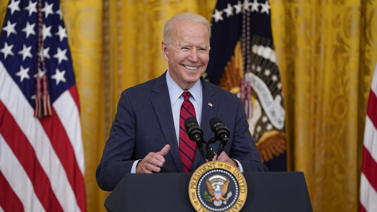 President Joe Biden speaks about infrastructure negotiations, in the East Room of the White...