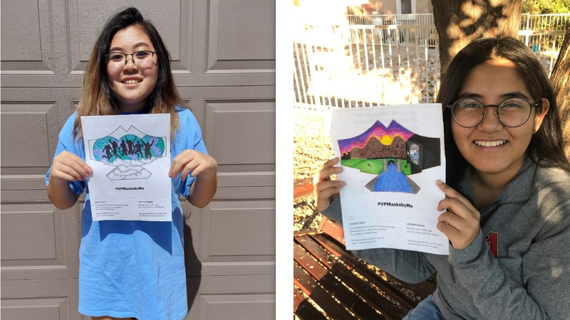 """Eva Scholtes and Karla Lopez were named finalists in Vistaprint's """"Masks by Me"""" contest."""