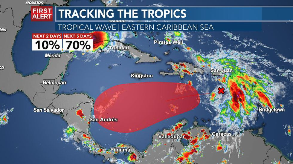 A tropical wave in the eastern Carribean Sea is likely to develop into the 30th named storm in...