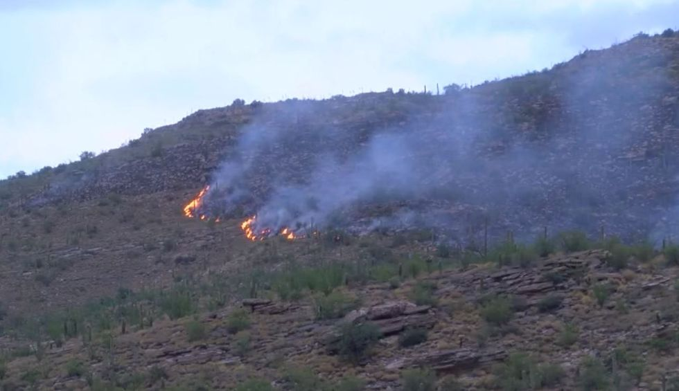 Flames from the Mercer Spring Fire are visible from the Catalina Highway on Friday morning,...