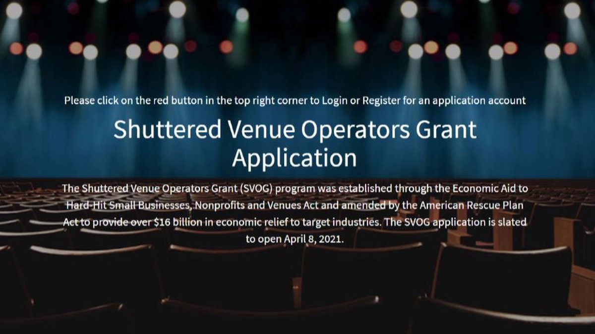 The Small Business Administration opened the application process April 8 to the Shuttered Venue...