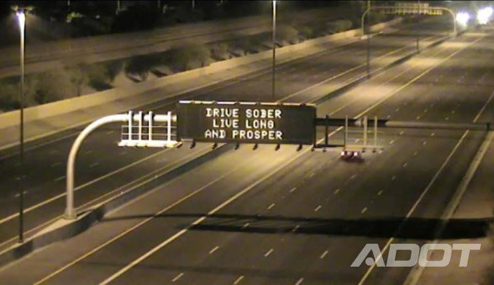 ADOT is referencing Star Trek in its latest highway signs. (Source: ADOT / Twitter)