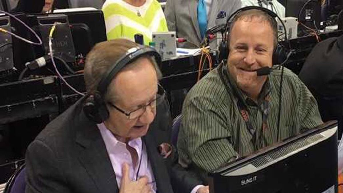 Al McCoy (left) and Jon Bloom were able to broadcast a suns game courtside before the pandemic....