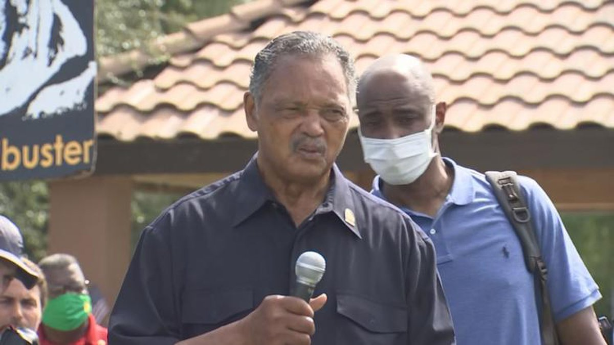 Rev. Jesse Jackson and several others were arrested after a civil rights march outside of Sen....