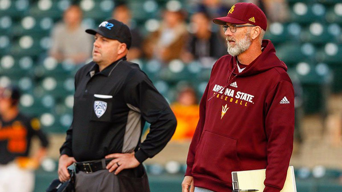 Arizona State and baseball coach Tracy Smith (right) agreed to part ways on Monday, June 7....